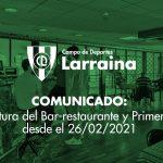 COMUNICADO:  Reapertura del bar-restaurante