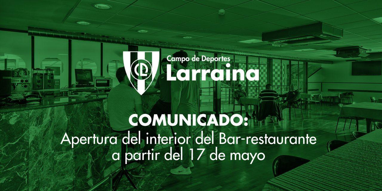 Comunicado: Apertura del interior del Bar-restaurante al 30% del aforo