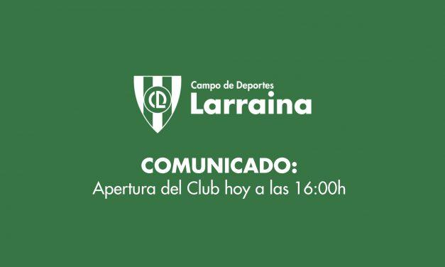 Comunicado: Reapertura del club y reinicio de las actividades desde hoy, a las 16h